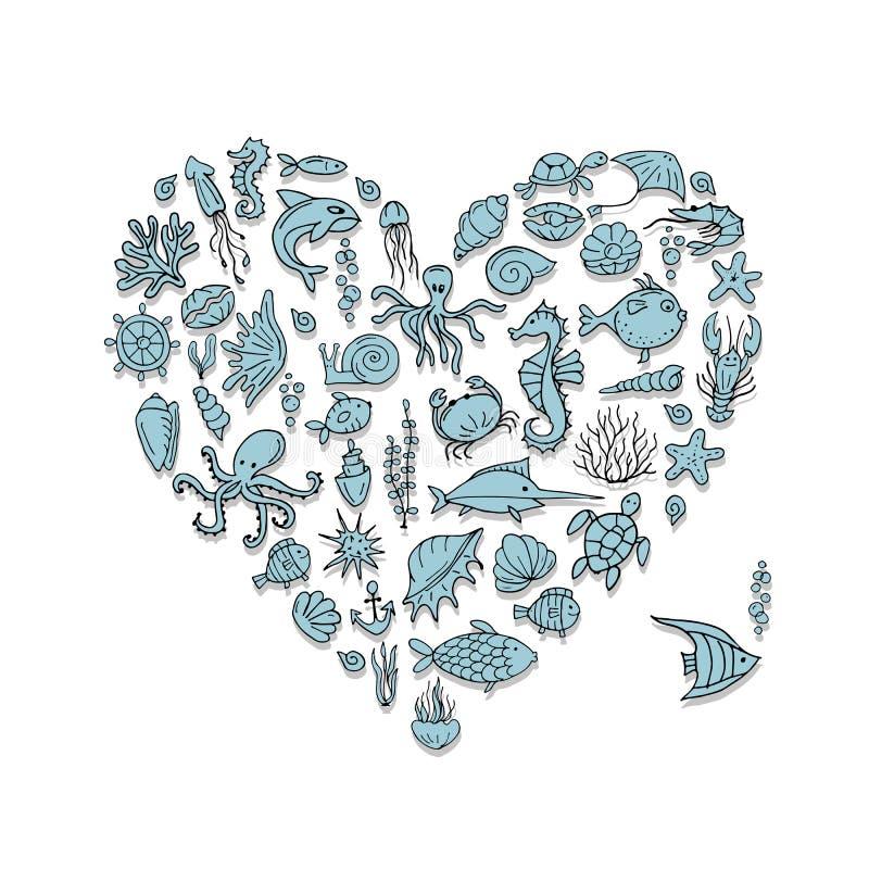 Marine life, heart shape sketch for your design vector illustration