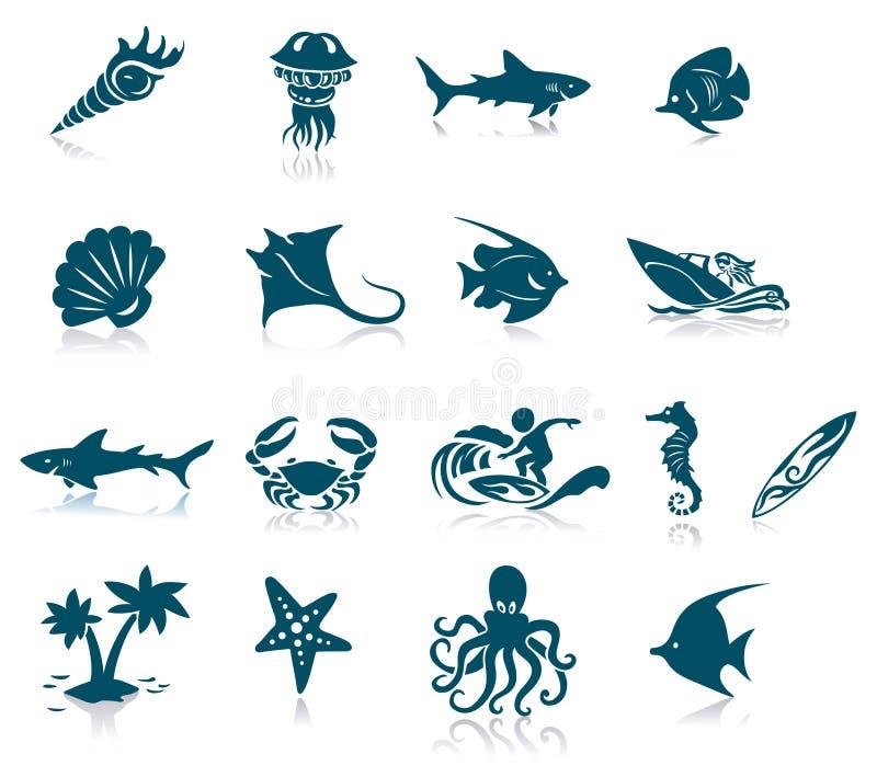 Marine Life Icons. Marine life icon set. Isolated against a white background with reflections royalty free illustration