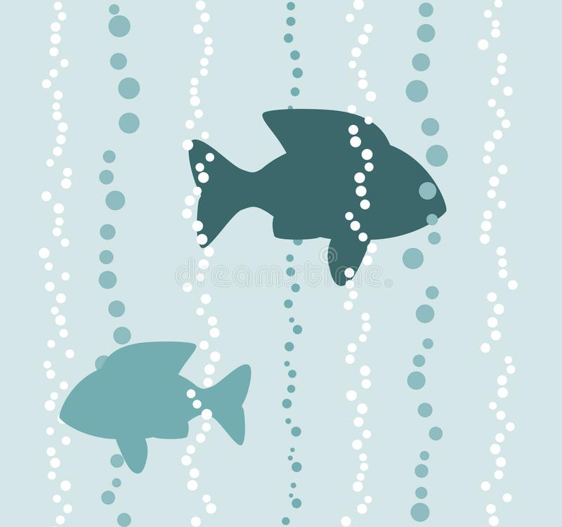 Fishes in a water with air bubbles, illustration vector illustration