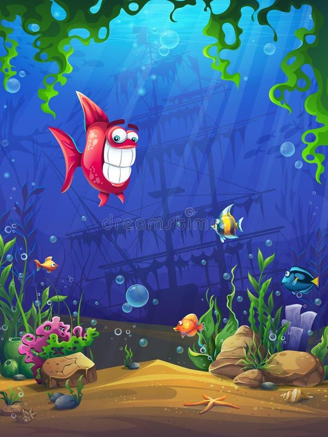 Marine Life Landscape - oceano ed il mondo subacqueo illustrazione vettoriale