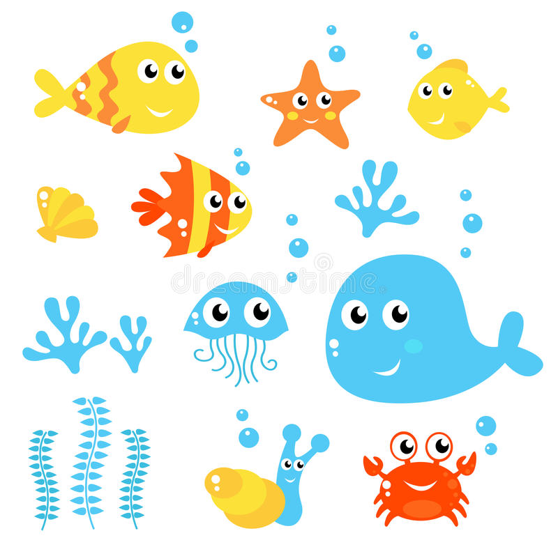 Marine Life - Sea and fishes collection. stock illustration