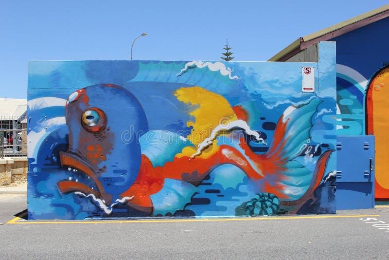 Marine life street art in Fremantle, Western Australia royalty free stock image