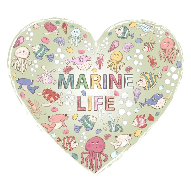 Marine life,themed design with elements stock illustration