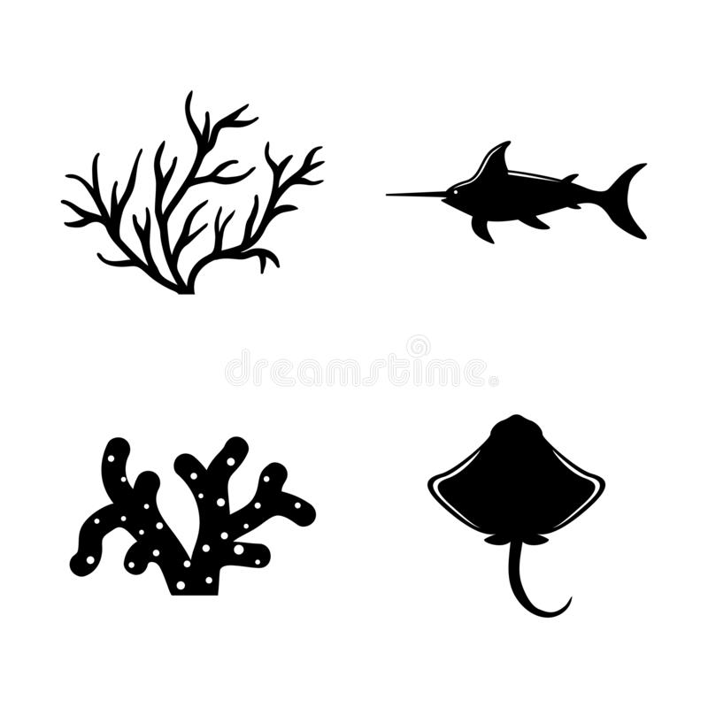 Marine Life, Underwater Inhabitants. Simple Related Vector Icons stock illustration