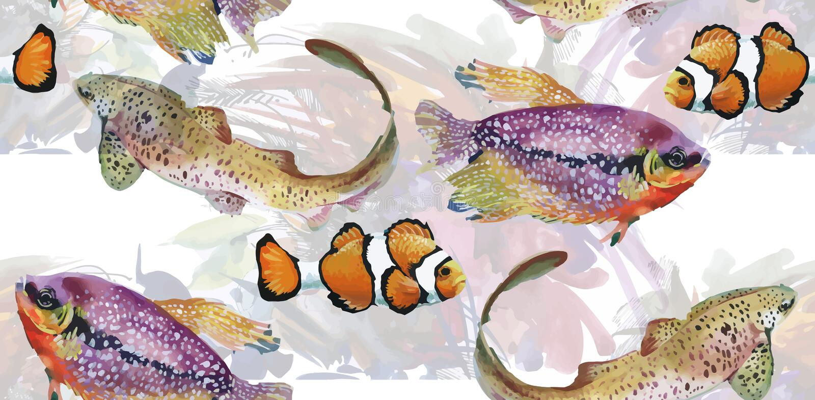 Marine life watercolor seamless pattern with Tropical fish vector illustration