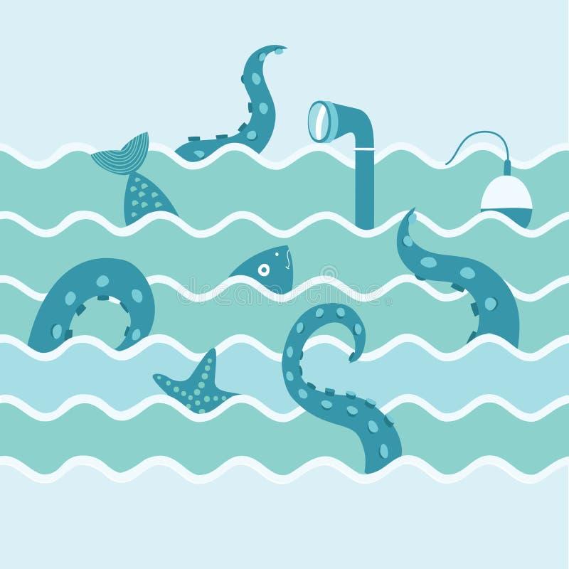 Marine Life In Wave stock de ilustración