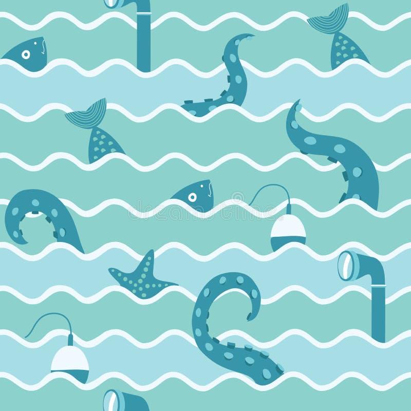 Marine Life In Wave Seamless bakgrund vektor illustrationer