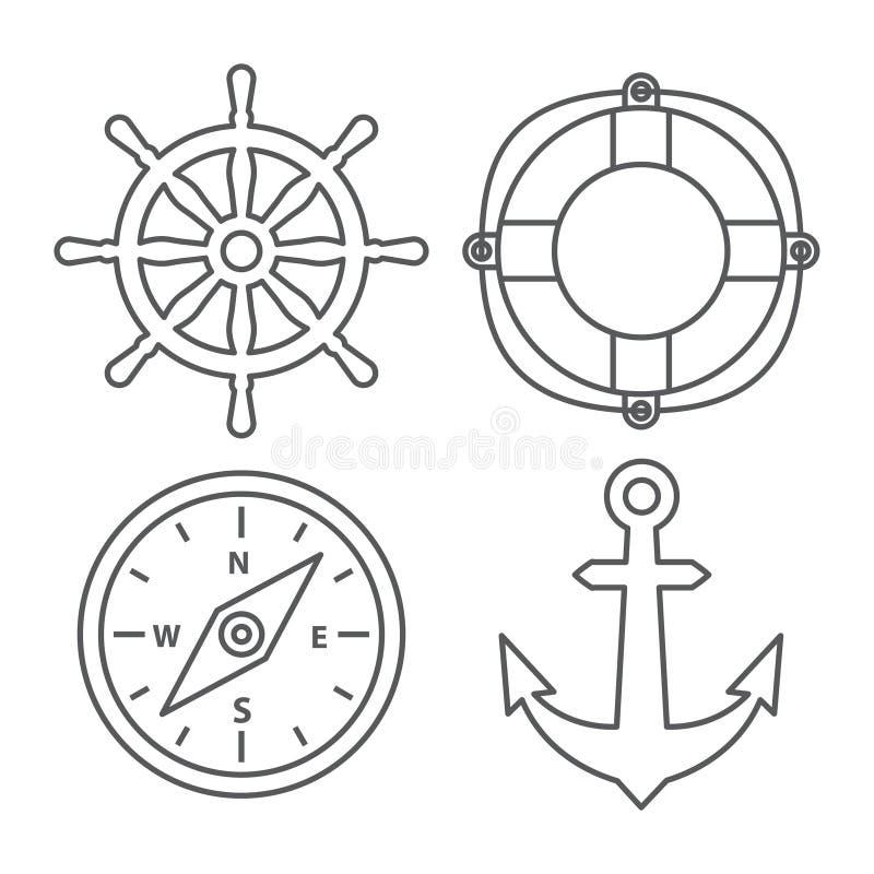Marine Line Icons lizenzfreie abbildung