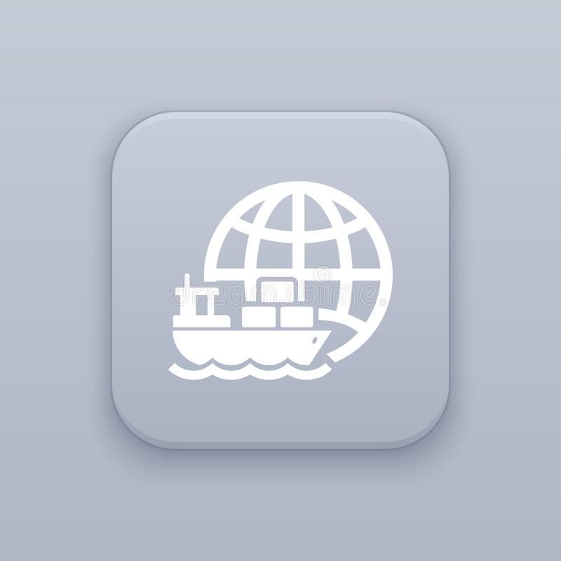 Marine Logistics, gray vector button with white icon. On gray background stock illustration