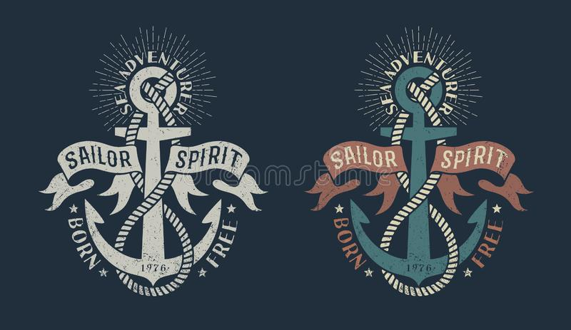 Marine logo, with anchor and heraldic ribbons royalty free illustration
