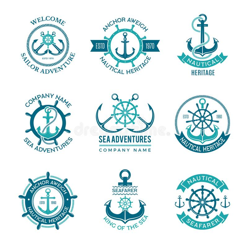 Marine logo. Nautical vector emblem with ship anchors and steering wheels. Cruise boat sailor monochrome symbols for royalty free illustration