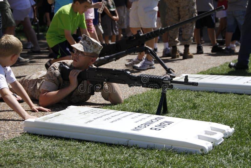 Marine Machine Gun Demonstration royalty free stock photography