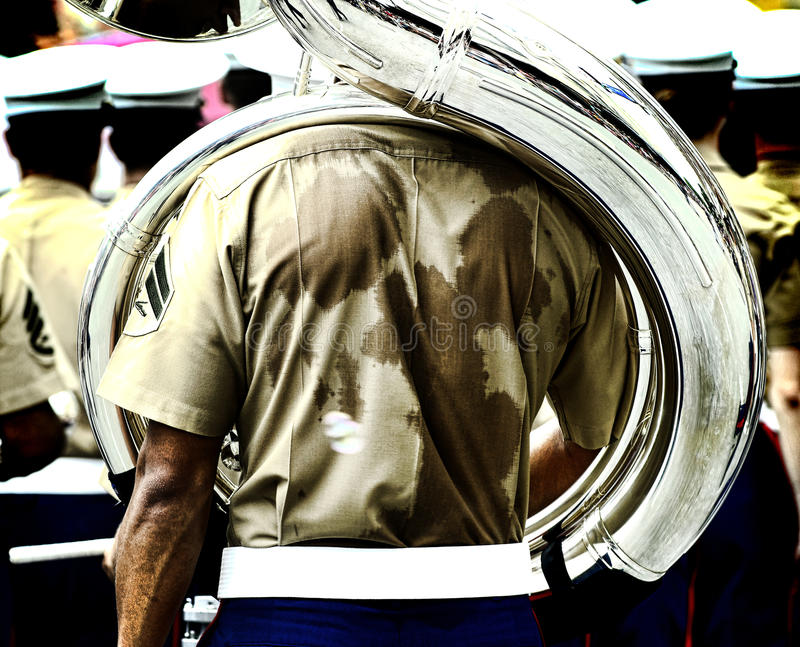Marine Corps Marching Band. Marine Corps band performing in the San Antonio Texas Fiesta Parade royalty free stock photo