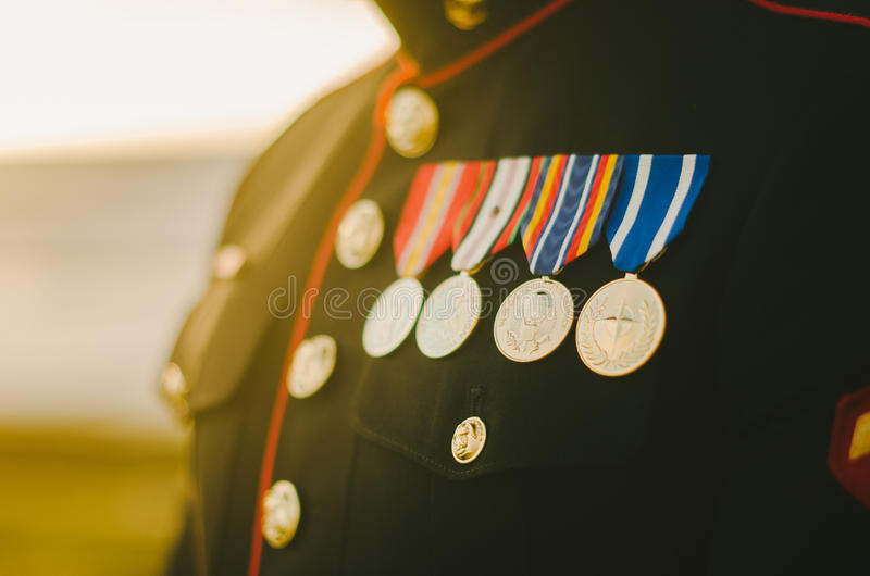 Marine Medals au soleil photo stock