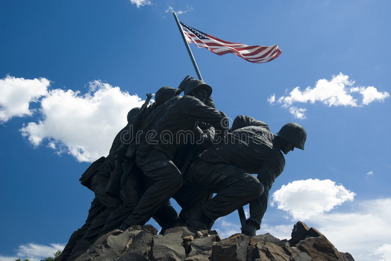 Marine Memorial Iwo Jima. At Arlington cemetery with US flag in a sunny day with clouds- Washinthon 2007 stock photos