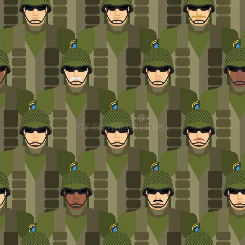 Marine naadloos patroon Militairen in helmen en kogelvrij v royalty-vrije illustratie