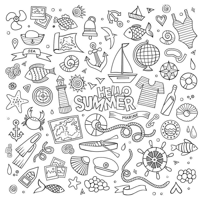 Marine nautical hand vector symbols and objects. Marine nautical hand drawn vector symbols and objects vector illustration