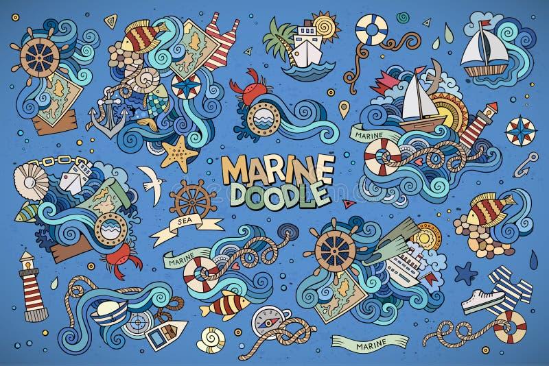 Marine nautical hand vector symbols and objects. Marine nautical hand drawn vector symbols and objects royalty free illustration