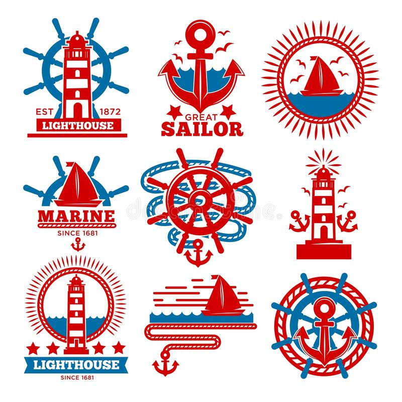 Marine and nautical logo templates or heraldic symbols. Vector isolated icons of ship anchor, helm and captain spyglass, sailing lighthouse or life buoy and royalty free illustration