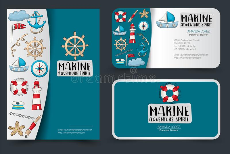Marine nautical travel corporate identity design set. Flyer and business cards template. Banners for shopping or sale. royalty free illustration