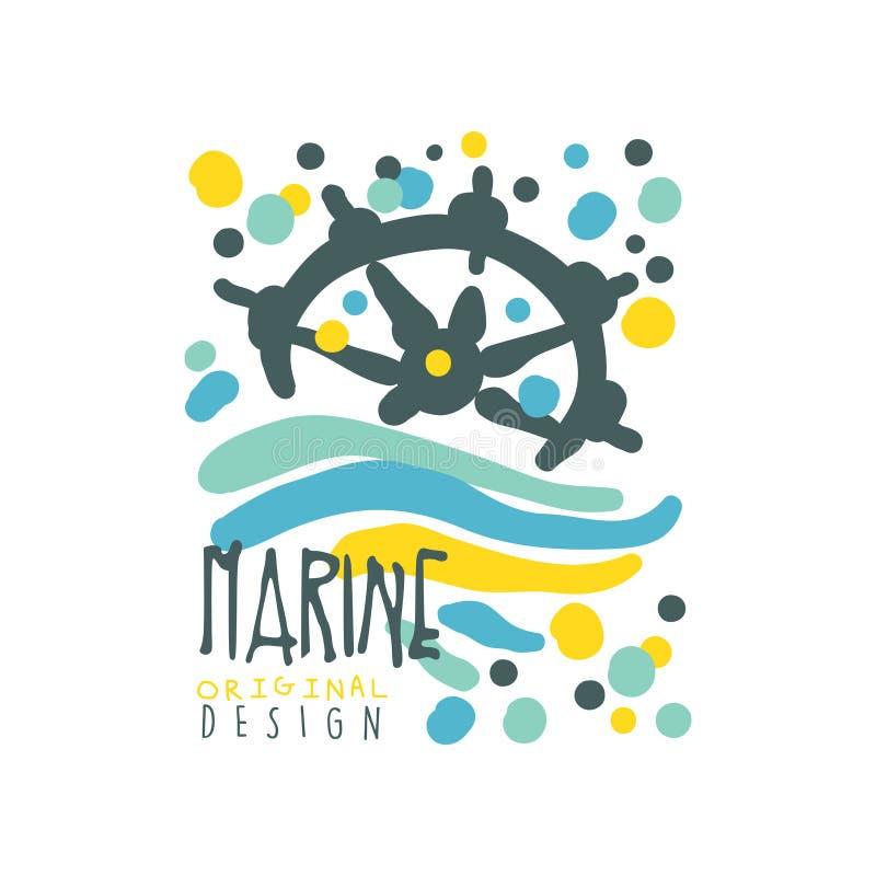 Marine- oder Yachtclublogodesign mit Zusammenfassungswellen und Schiffslenkrad Hand gezeichneter bunter Vektor an lokalisiert lizenzfreie abbildung