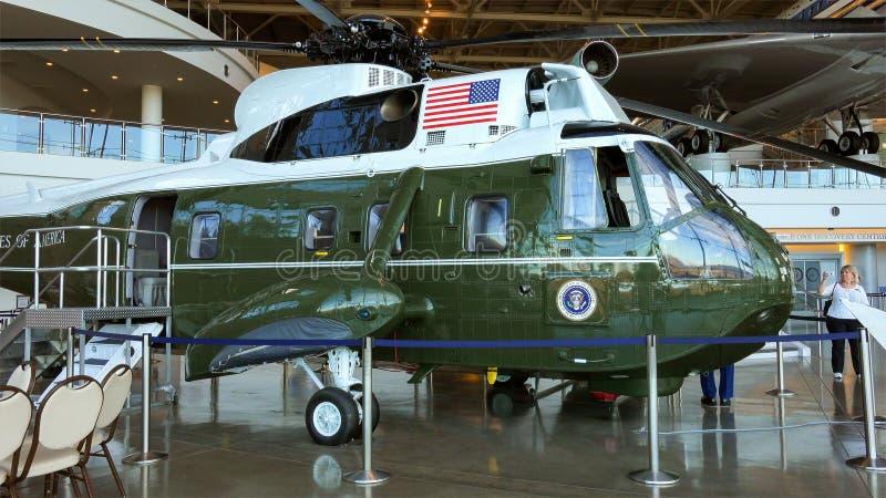 Marine One Presidential Helicopter in Ronald Reagan Presiden royalty-vrije stock fotografie
