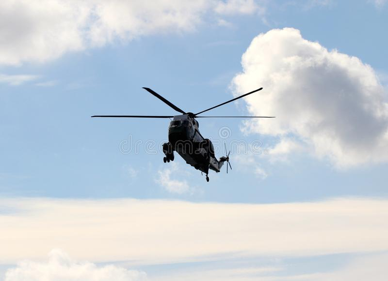 Marine One VH-3D à l'approche pour Wall Street Heliportp image stock