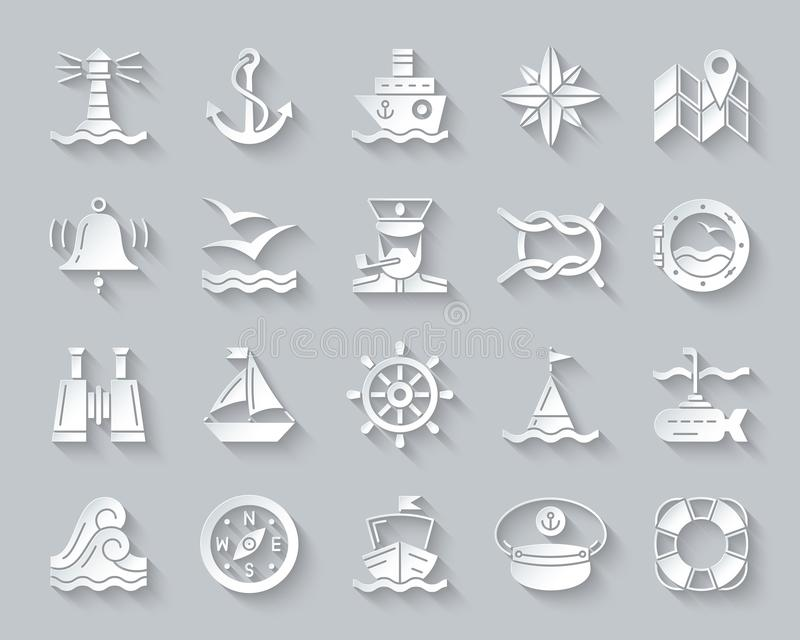 Marine simple paper cut icons vector set. Marine paper cut art icons set. 3D sign kit of nautical. Sea Knot pictogram collection includes lifebuoy, submarine royalty free illustration
