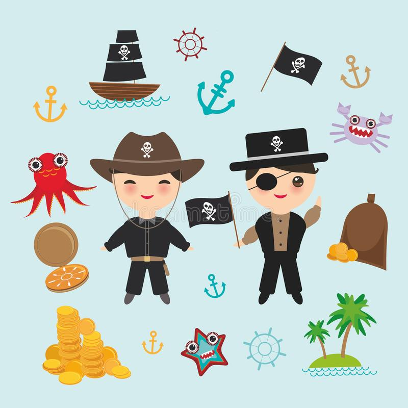 Marine pirate on blue background. pirate boat with sail, gold coins crab octopus starfish island with palm trees anchor compass an. Chor helm treasures. Vector royalty free illustration