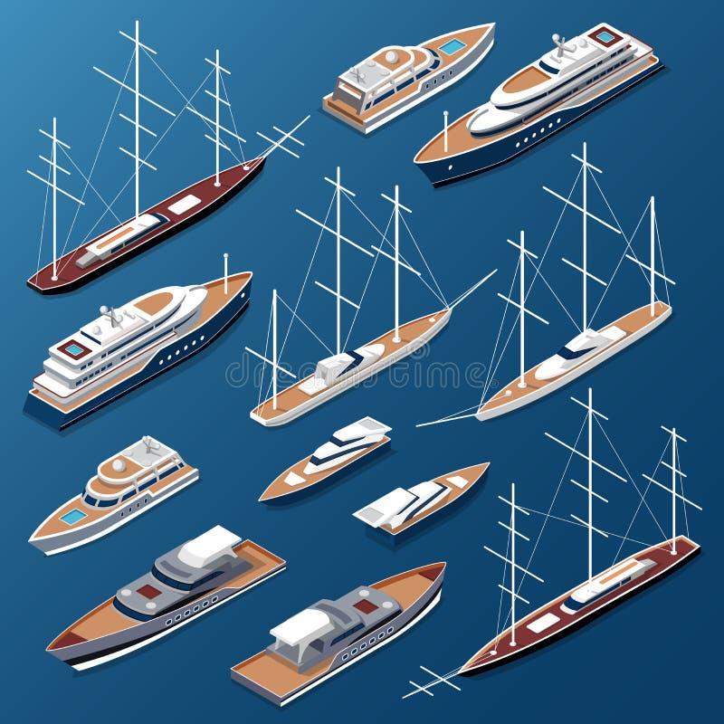 Marine plate isométrique de vecteur de yachts et de bateaux illustration de vecteur