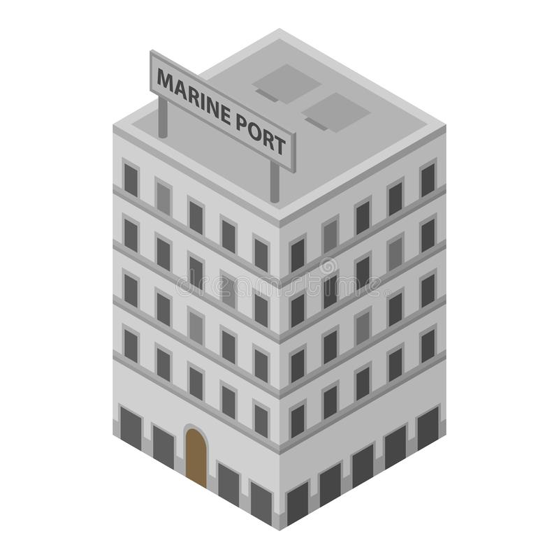 Marine port building icon, isometric style stock illustration