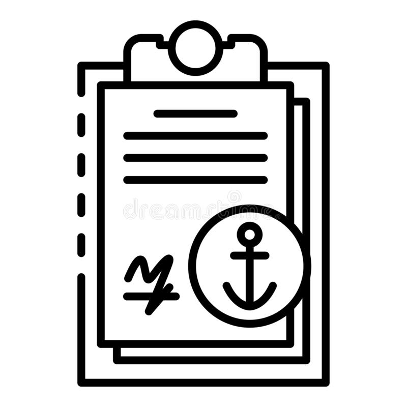 Marine port clipboard icon, outline style vector illustration