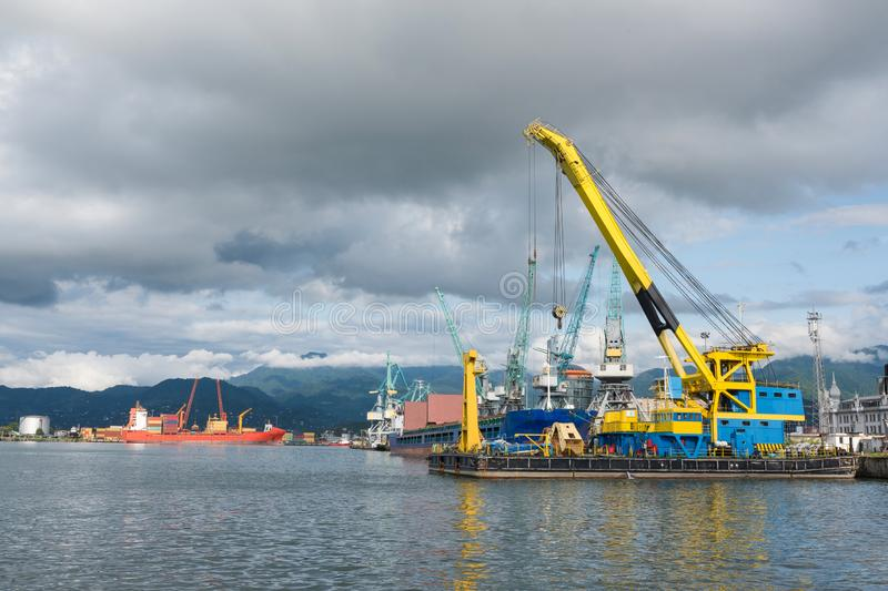Marine port. Loading of containers, trade port royalty free stock images