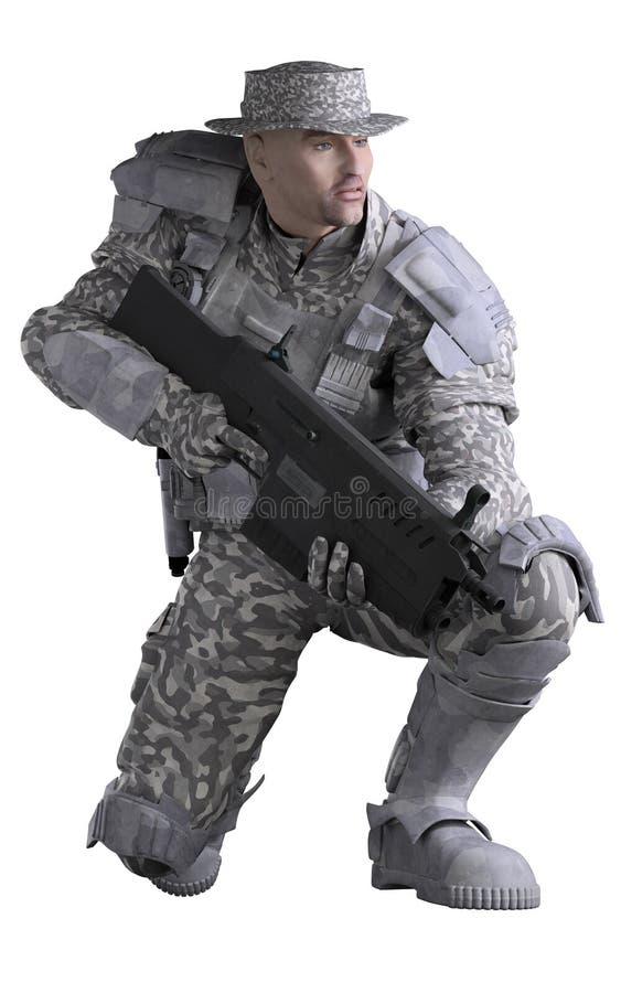 Marine Ranger futuriste dans le camouflage urbain, se tapissant illustration de vecteur