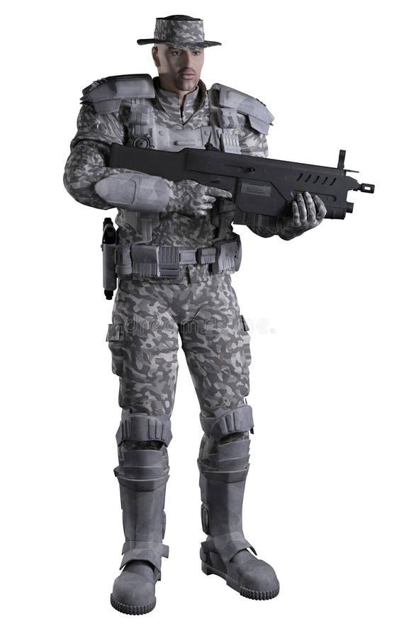 Marine Ranger futuriste dans le camouflage urbain, se tenant illustration de vecteur