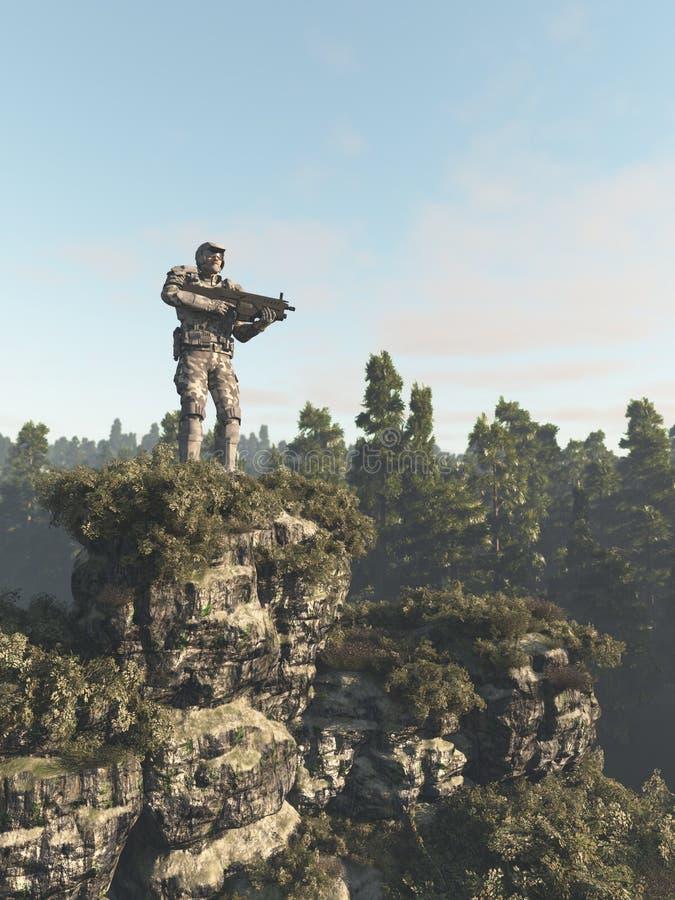 Marine Ranger Keeping Guard futuriste dans la forêt illustration de vecteur