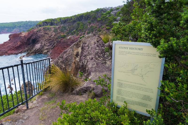 Marine red folded rocks in Ben Boyd National Park, NSW, Australia stock image
