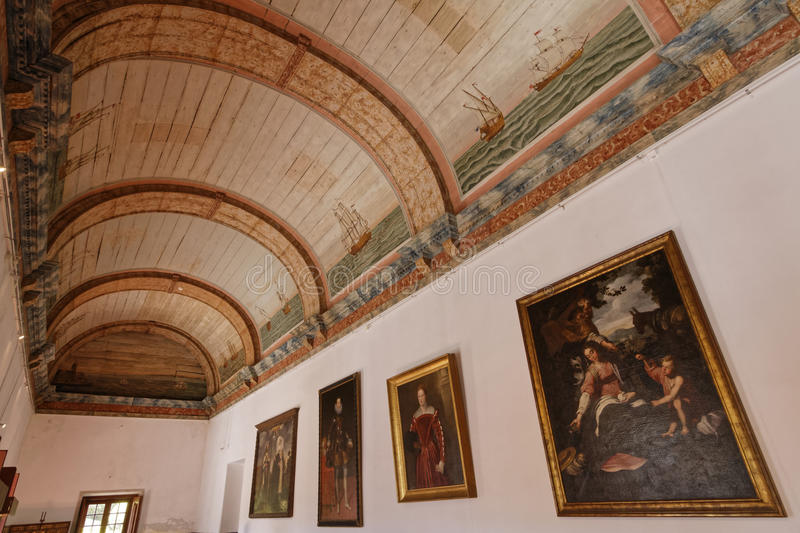 Marine room in the Palace of Sintra. SINTRA, Portugal, April 7, 2017 : Marine room in the Palace of Sintra, for a long time the residence of Royal family during royalty free stock photo