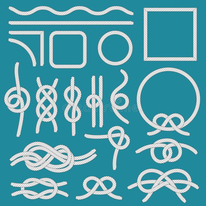 Marine rope knot. Ropes frames, cordage knots and decorative cord divider isolated vector set. Marine rope knot. Ropes frames, cordage knots and decorative cord royalty free illustration
