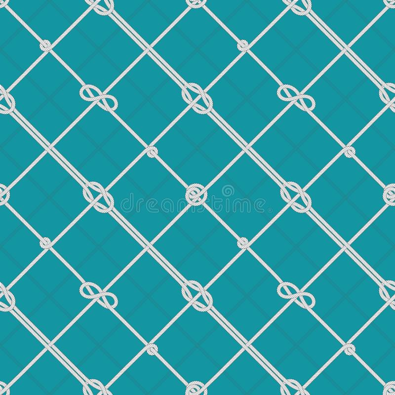 Marine rope knots pattern. Tied sea ropes, cord knot and nautical seamless vector background stock illustration