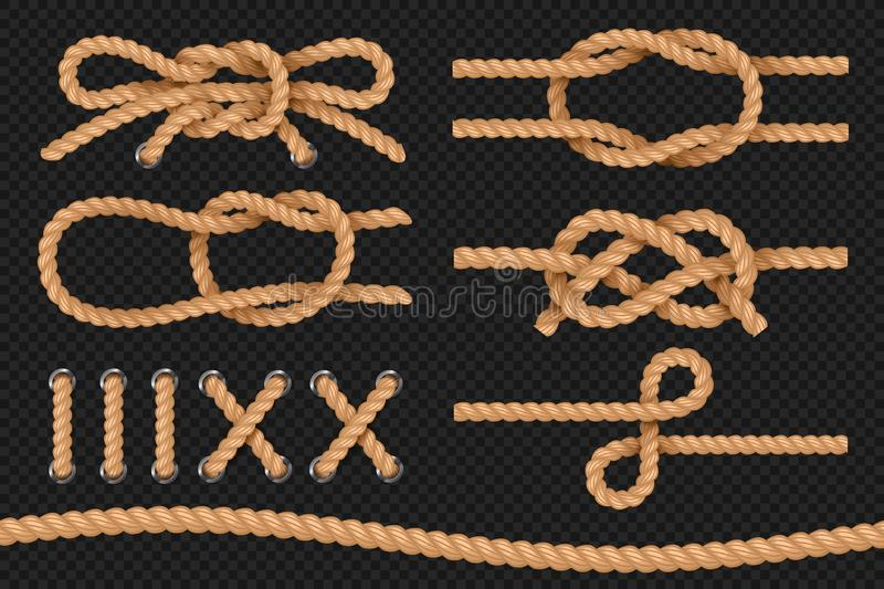 Marine ropes. Cord twisted texture, nautical ropes borders, cordage bowknot. Vector set. Marine ropes. Cord twisted texture, nautical ropes borders, cordage vector illustration