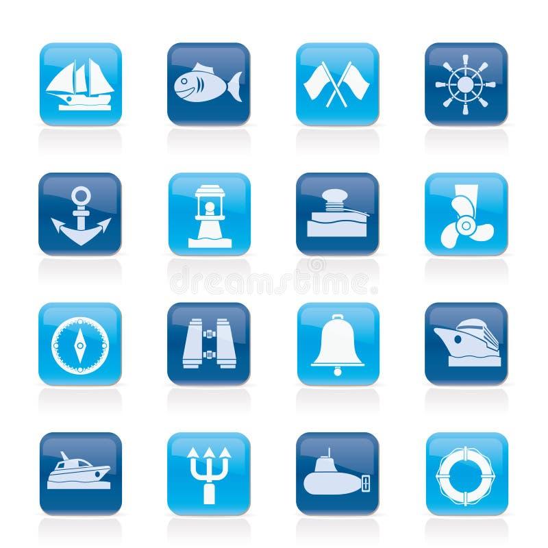 Marine, sea and nautical icons stock illustration