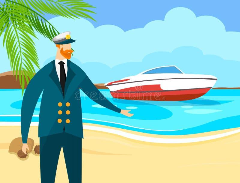 Marine Seaman com Ginger Beard no tamp?o e no uniforme ilustração stock