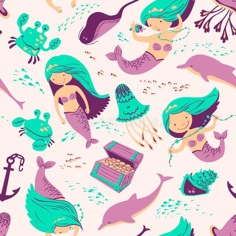Free Marine Seamless Background With Mermaid Stock Photo - 70829490