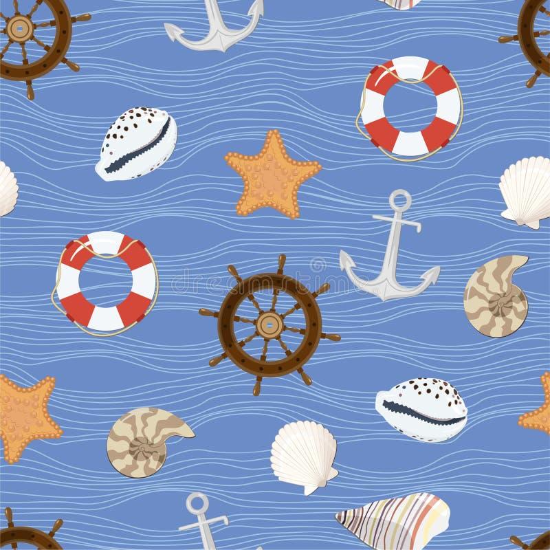 Marine seamless pattern stock illustration