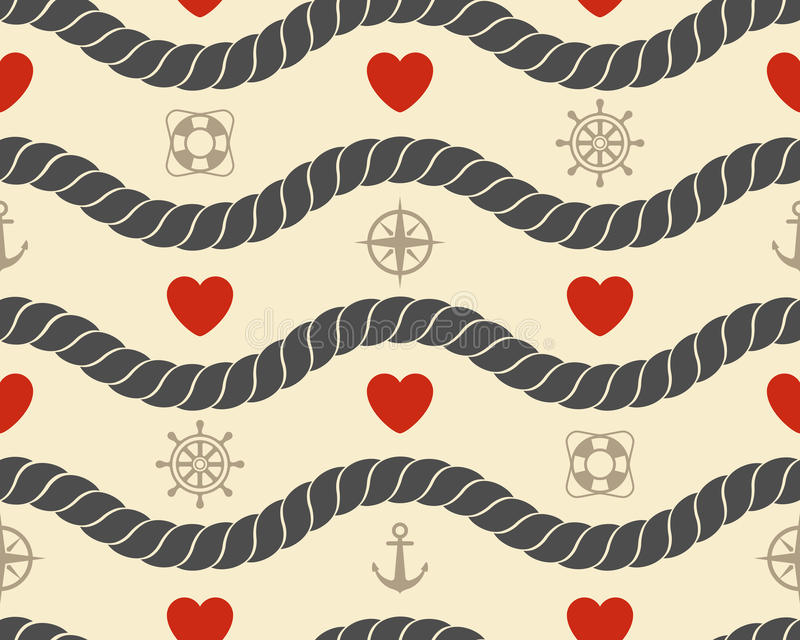 Marine seamless pattern stock illustration