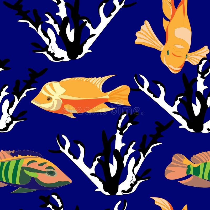 Marine seamless pattern of bright orange and striped tropical fish and black and white coral on blue background stock illustration