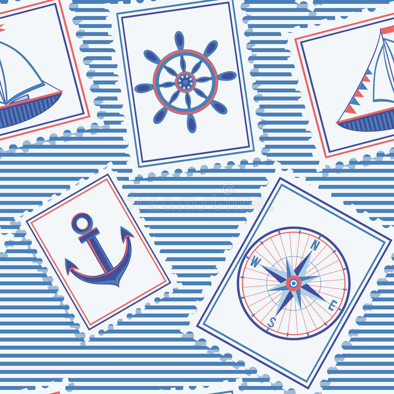 Marine seamless pattern royalty free stock photography