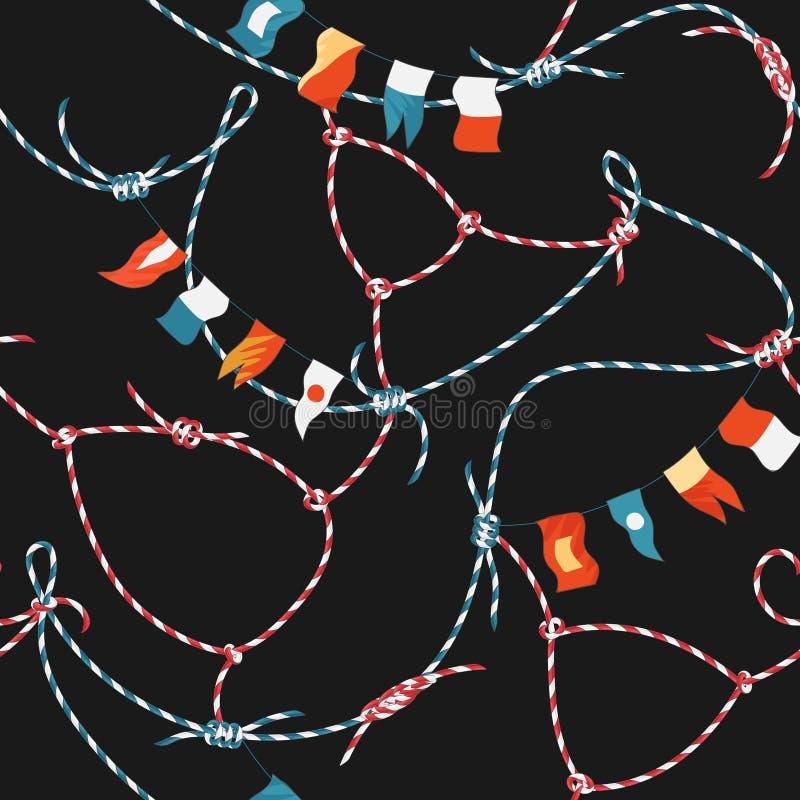 Marine Seamless Pattern met Kabelknoop en Vlaggen Zeevaartstoffenachtergrond met het Ornament van de Lijnmarine voor Behang vector illustratie