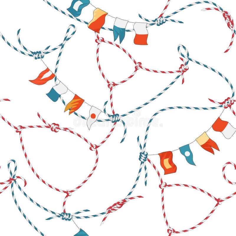 Marine Seamless Pattern met Kabelknoop en Vlaggen Zeevaartstoffenachtergrond met het Ornament van de Lijnmarine voor Behang stock illustratie